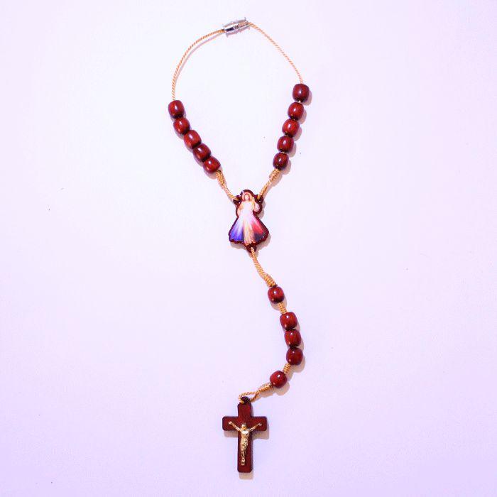 Dezena em madeira com entremeio resinado Jesus Misericordioso - A Dúzia - Cód.: 2014