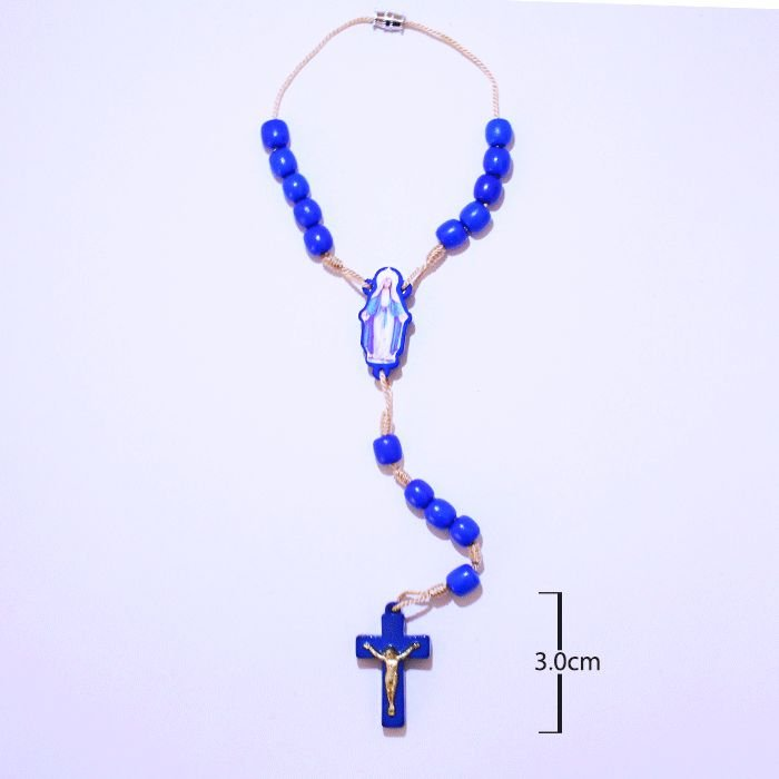 Dezena de Nossa Senhora das Graças em madeira azul com fecho - A Dúzia - Cód.: 4887