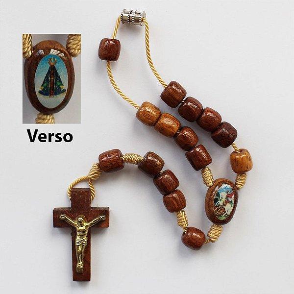 Dezena em madeira Nossa Senhora Aparecida e São Jorge - A Dúzia - Cód.: 0883