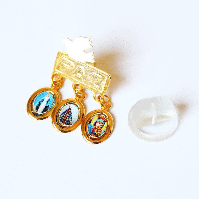 Botom com medalhas de Nossa Senhora das Graças, Nossa Senhora Aparecida e Nossa Senhora do Perpétuo Socorro - A Dúzia - Cód.: 1685