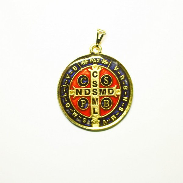 Medalha de São Bento em metal resinada Grande - O pacote com 6 unidades - Cód.: 1578