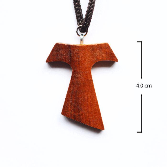 Tau 4 cm em madeira no cordão - A Dúzia - Cód.: 1183