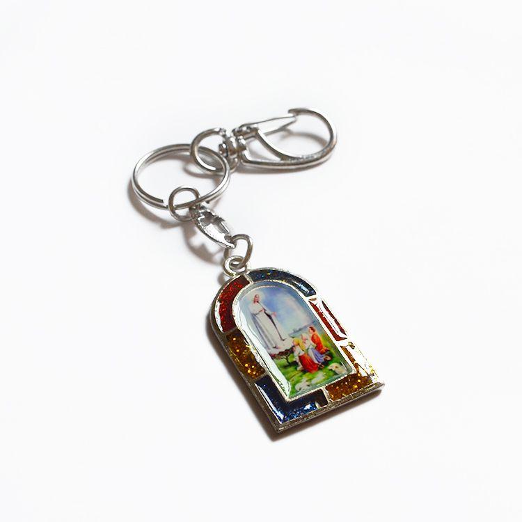 Chaveiro em Metal - Nossa Senhora de Fátima  e Sagrado Coração de Jesus - Mínimo de 3 peças - Cód. 3700