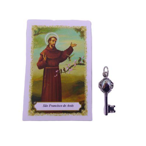 Folheto com oração e Pingente Chave - São Francisco de Assis - A Dúzia - Cód. 8111