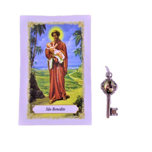 Folheto com oração e Pingente Chave - São Benedito - A Dúzia - Cód. 8111