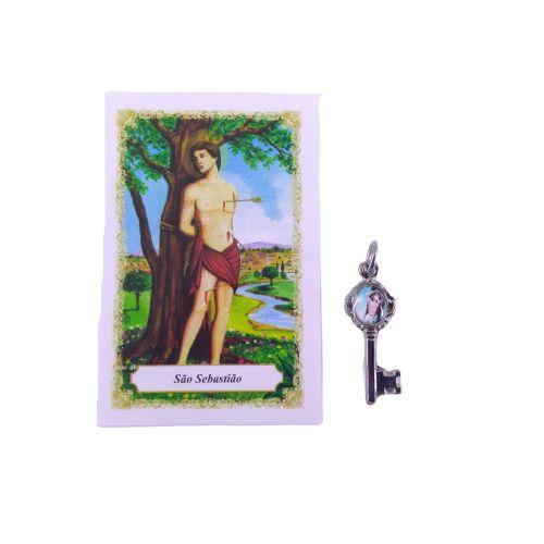 Folheto com oração e Pingente Chave - São Sebastião - A Dúzia - Cód. 8111