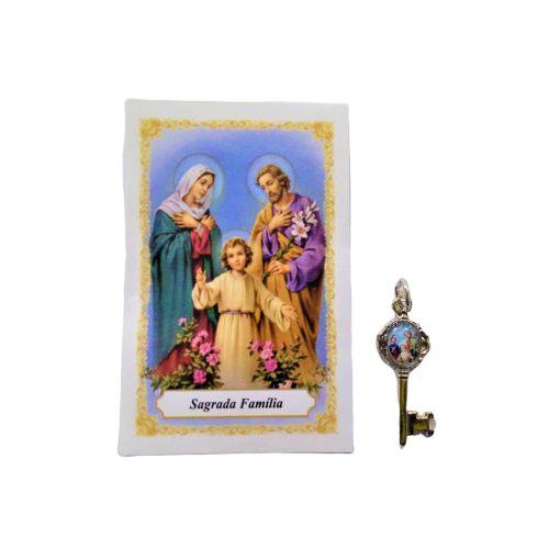 Folheto com oração e Pingente Chave - Sagrada Família - A Dúzia - Cód. 8111