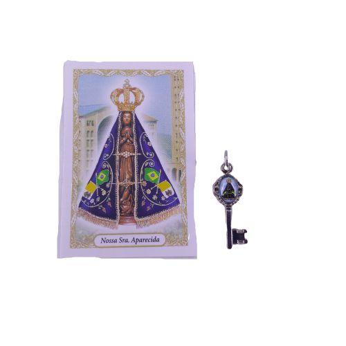 Folheto com oração e Pingente Chave - Nossa Senhora Aparecida - A Dúzia - Cód. 8111