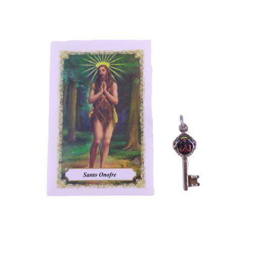 Folheto com oração e Pingente Chave - Santo Onofre - A Dúzia - Cód. 8111