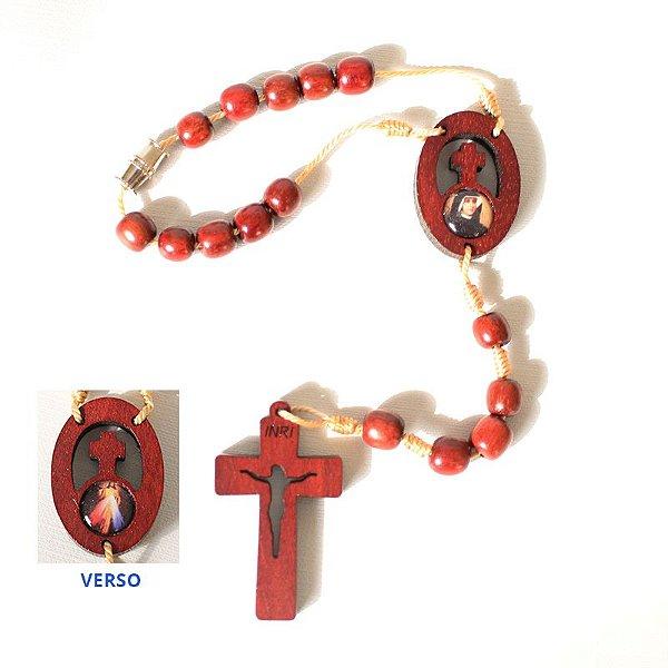 Dezena com Entremeio e Cruz Vazada com Fecho - Jesus Misericordioso e Santa Faustina - Pacote com 12 peças - Cód. 0823