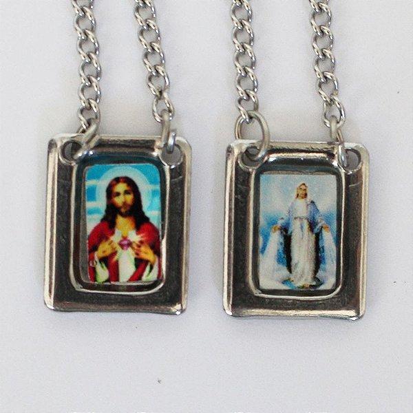 Escapulário em aço inox e foto colorida Sagrado Coração de Jesus e Nossa Senhora das Graças - O Pacote com 6 unidades - Cód.: 8848