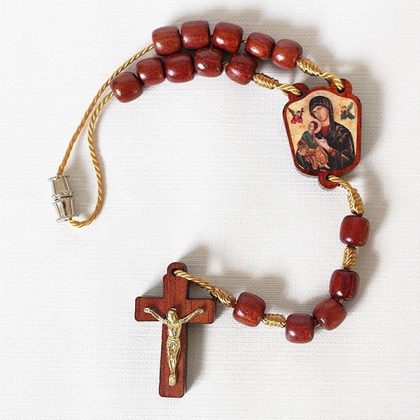 Dezena em madeira com entremeio resinado - Nossa Senhora do Perpétuo Socorro - A Dúzia - Cód.: 2014