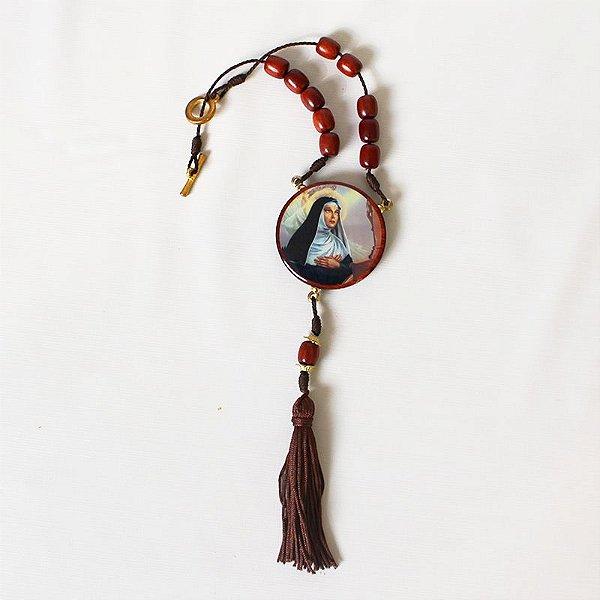 Medalhão para carro, em madeira resinada com fecho - Santa Rita - O pacote com 3 peças  - Cód.: 0721