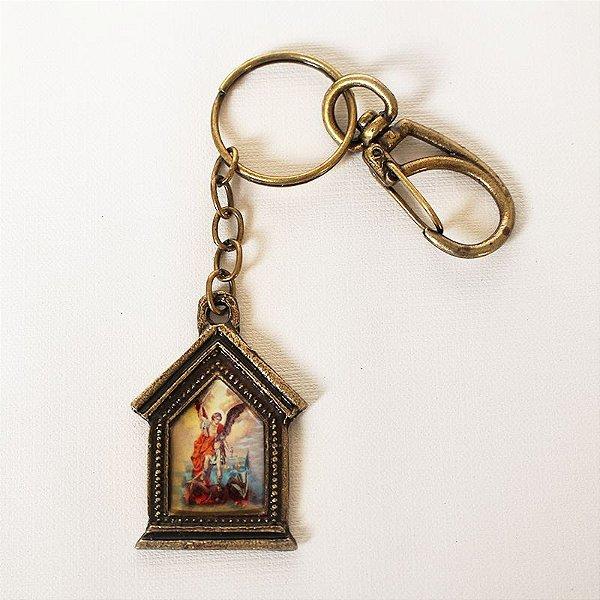 Chaveiro em metal capelinha - São Miguel - Pacote com 3 peças - Cód.: 3035