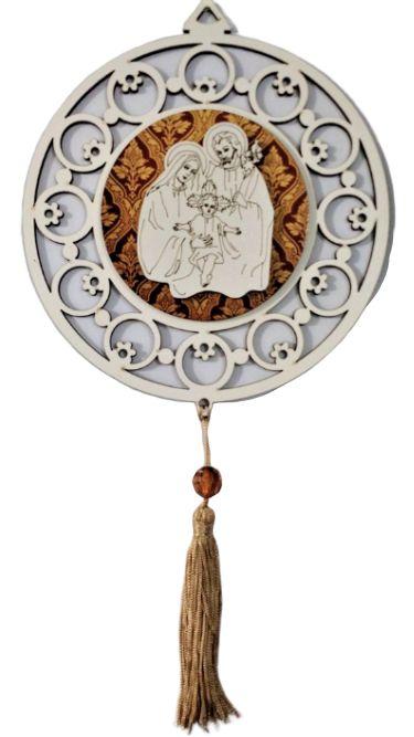 Adorno em MDF com Imagem da Sagrada Família em Relevo - Pacote com 3 unidades - Cód.: 5348