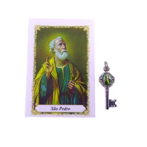 Folheto com oração e Pingente Chave - São Pedro - Cód.: 8111