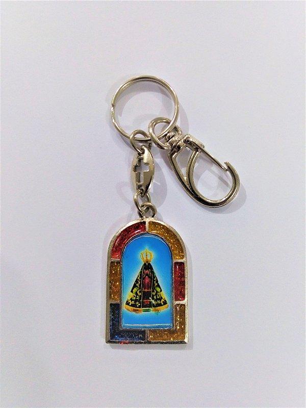Chaveiro em metal Nossa Senhora Aparecida x Cristóvão com mosquetão - Pacote com 3 unidades - Cód.: 3700