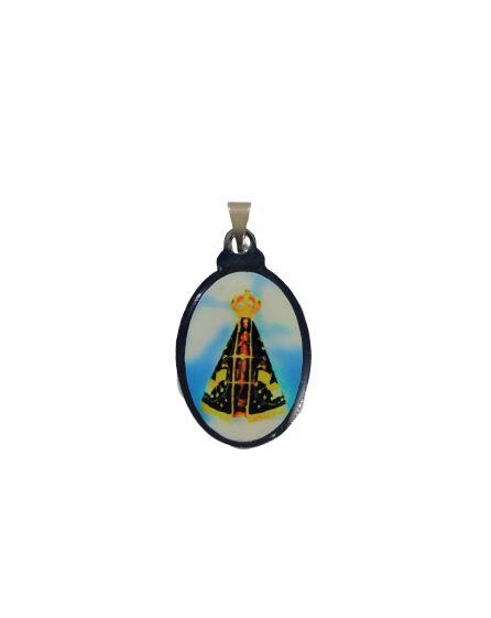 Medalha Cromada Colorida de Nossa Senhora Aparecida  - A duzia - Cód.: 3630