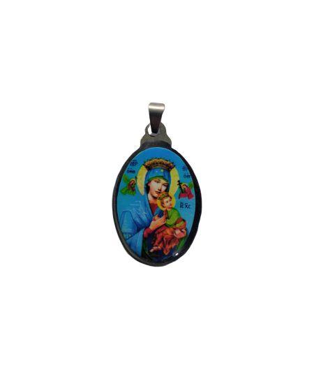 Medalha Cromada Colorida de Nossa Senhora do Perpétuo Socorro - A duzia - Cód.: 3630