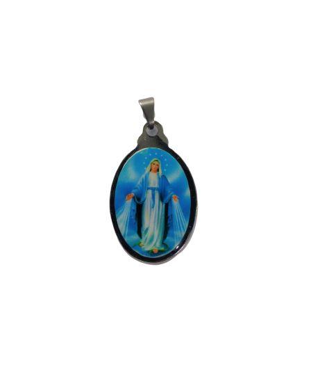 Medalha Cromada Colorida de Nossa Senhora das Graças - A duzia - Cód.: 3630'