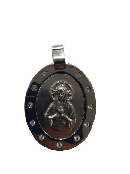 Medalha em Aço Inox, Sagrado Coração de Maria com strass - O pacote com 3 peças - Cód.: 1830