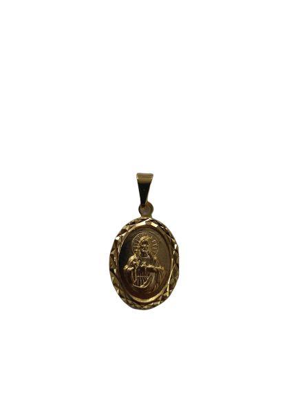 Medalha Oval Dourada do Sagrado Coração de Jesus - O pacote com 3 peças - Cód.: 464