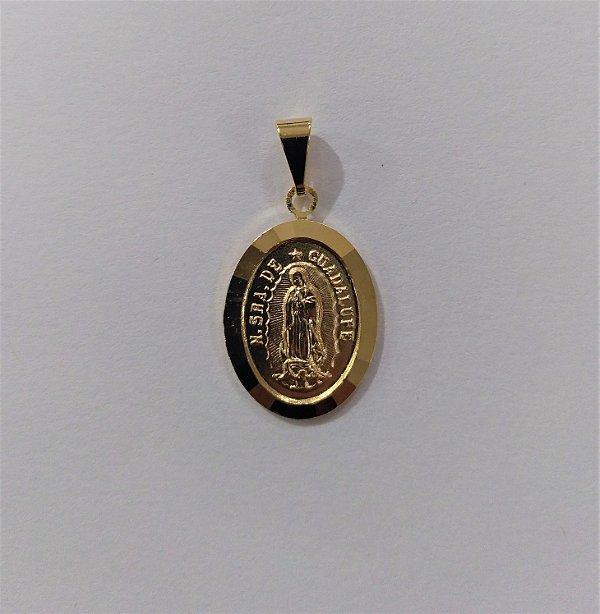 Medalha Oval Dourada de Nossa Senhora de Guadalupe - O pacote com 6 peças - Cód.: 464