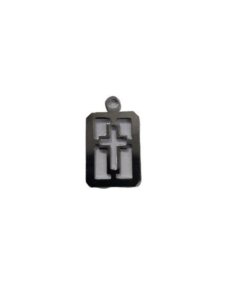 Medalha Cromada, Cruz Vazada - A duzia - Cód.: 8028