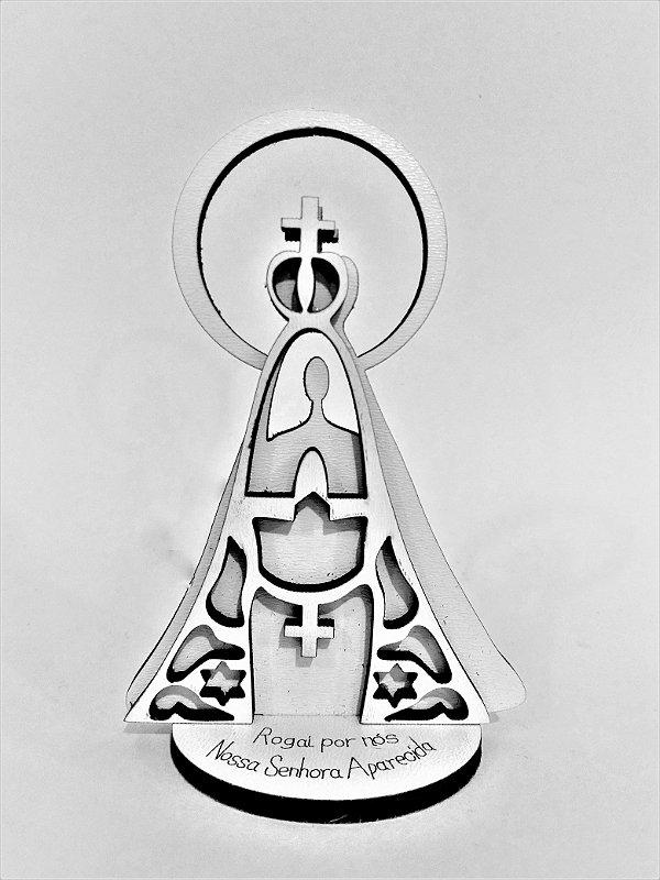 Enfeite de mesa em MDF de Nossa Senhora Aparecida - O pacote com 6 peças - Cód.: 2166