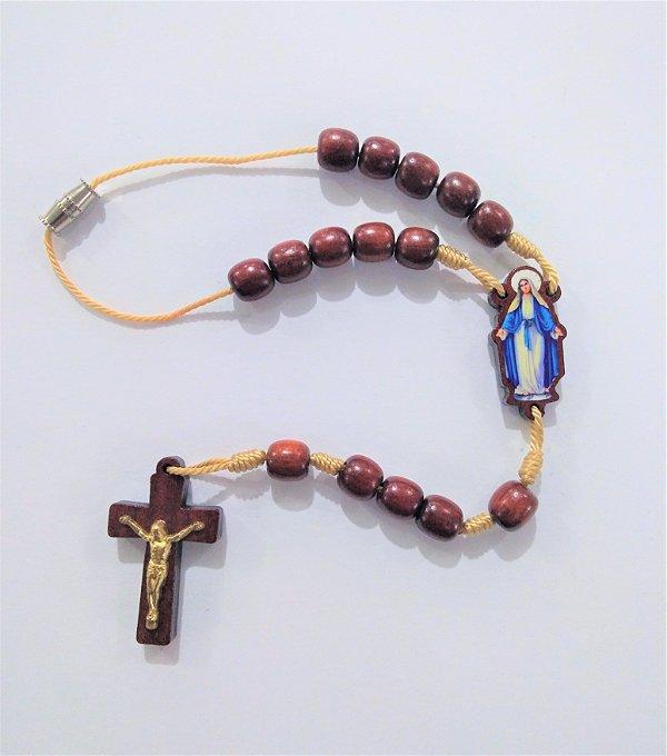 Dezena em madeira com entremeio resinado - Nossa Senhora das Graças - A Dúzia - Cód.: 2014