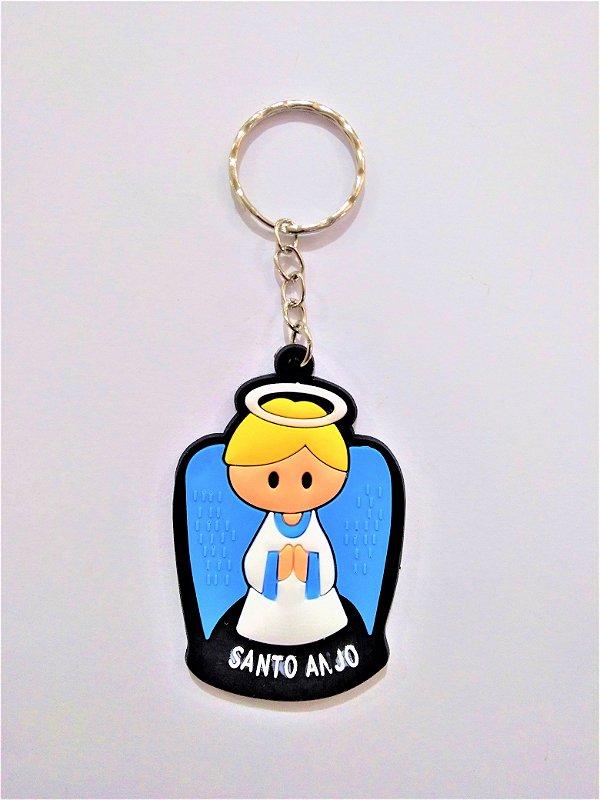 Chaveiro em Borracha - Anjo da Guarda Azul - A dúzia - Cód.: 2359