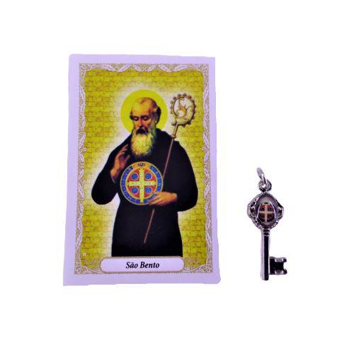 Folheto com Oração e Pingente  Chave - São Bento -  A dúzia - Cód.: 8111