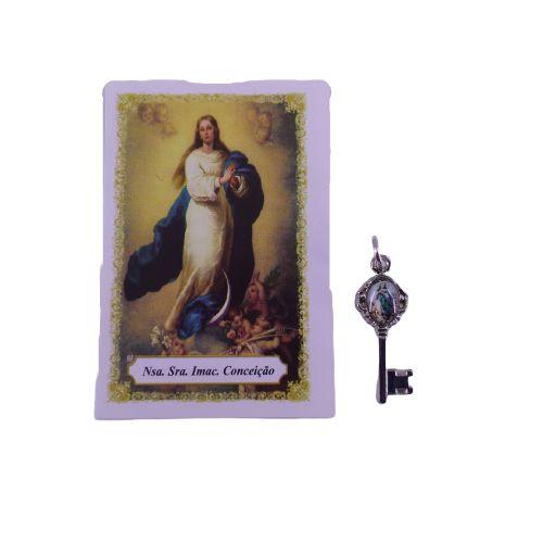 Folheto com Oração e Pingente Chave - Nossa Senhora da Conceição - A duzia - Cód.: 8111