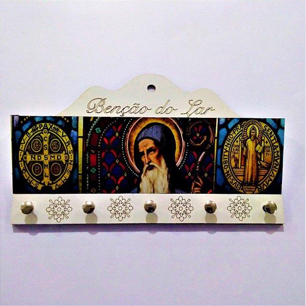 Porta Carta e chave de MDF - São Bento  - O pacote com 3 peças - Cód.: 2225