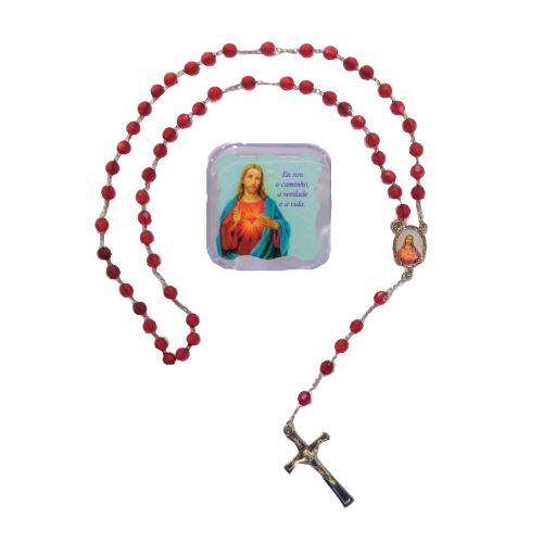 Terço acrílico com caixa - Sagrado Coração de Jesus - O pacote com 6 peças - Cód.: 2493