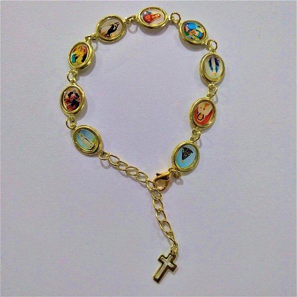 Pulseira em metal Oval - Nossa Senhora - O pacote com 6 peças - Cód.: 6672