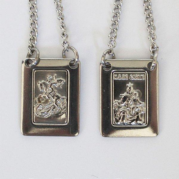 Escapulário e Corrente em Aço Inox Centro Fosco, Nossa Senhora do Carmo e São Jorge o pacote com 6 peças - Có.:7618
