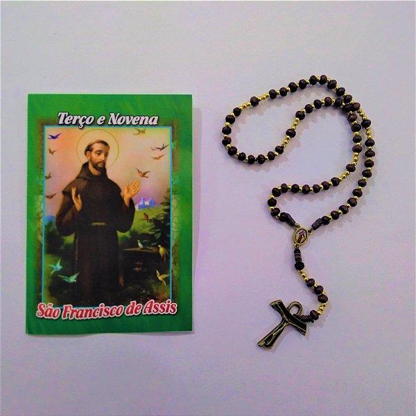 Terço com folheto de oração, São Francisco - A dúzia -  Cód.: 5078