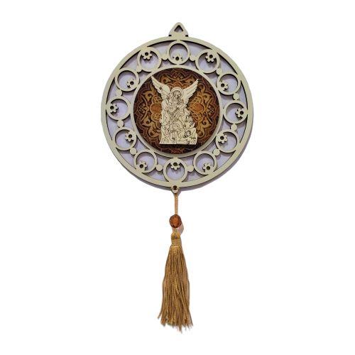 Adorno em MDF com Imagem de São Miguel em Relevo - O pacote com 3 peças - Cód.:5348