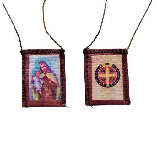 Escapulário de Tecido com Folheto de Oração, Nossa Senhora do Carmo e Mealha de São Bento - A dúzia - Cód.: 276