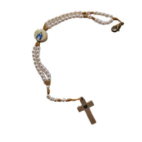 Terço Pulseira Pérola de Nossa Senhora das Graças, em Plástico com Fecho - A dúzia - Cód.: 3818
