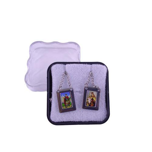 Escapulário em Aço Inox e Foto Colorida, Santo Expedito e Nossa Senhora do Carmo - O pacote com 6 peças - Cód.: 8848