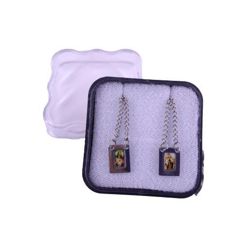 Escapulário em Aço Inox e Foto Colorida, Sagrado Coração de Jesus e Nossa Senhora do Carmo - O pacote com 6 peças - Cód.: 0573