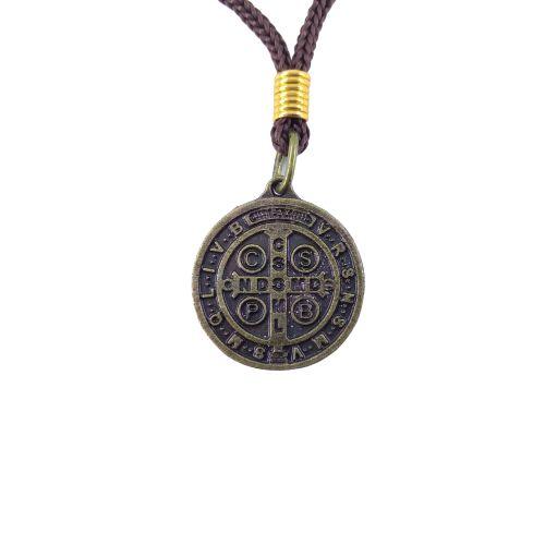 Cordão com Medalha de São Bento Cor Ouro Velho - A duzia - Cód.: 744