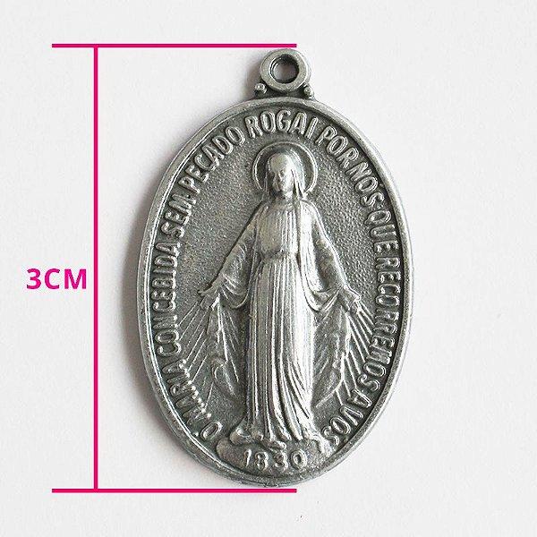 Medalha Milagrosa de Nossa Senhora das Graças - M - pacote com 30 peças - Cód.: 7835