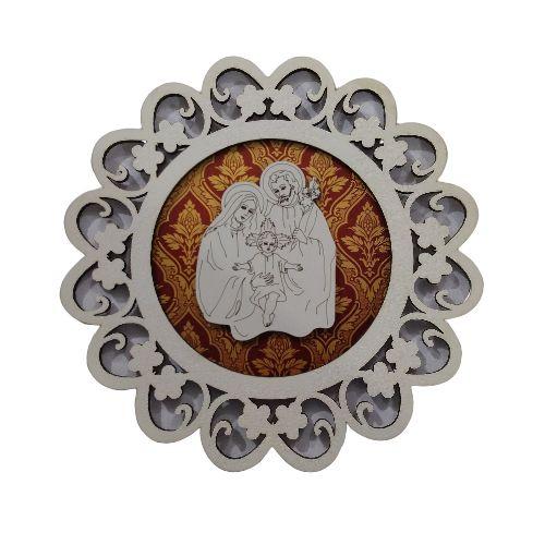 Mandala com Aplique da Sagrada Família - O Pacote com 3 peças - Cód.:7339
