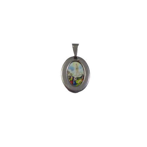 Medalha de Aço Inox com Foto Colorida de Nossa Senhora de Fátima - O Pacote com 6 Peças - Cód.: 1905