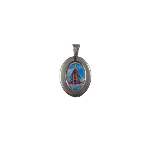 Medalha de Aço Inox com Foto COlorida de Nossa Senhora Aparecida - O Pacote com 6 Peças - Cód.: 1905
