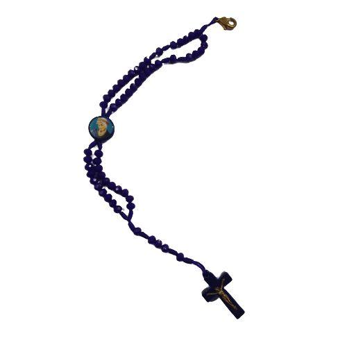 Terço Pulseira de Acrílico com Entremeio Resinado das Mães Que Oram Na Cor Azul - O Pacote com 6 peças - Cód.: 8974