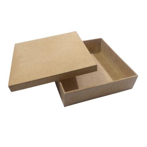 Caixa Simples 20 x 20 x 5 cm, em MDF com Tampa - O Pacote com 3 peças - Cód.: 5116